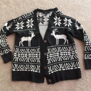 Moose & Snowflake Black & White Cardigan Sweater